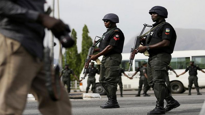 •Nigeria police officers on duty