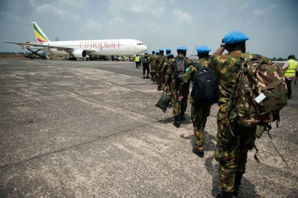 •Nigerian peacekeepers boarding a plane to depart Liberia