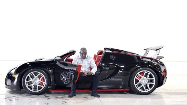 •Obi Okeke inside the Bugatti Veyron car bought from Hollywood star Arnold Schwarzenegger