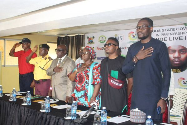 •Olamide and other dignitaries during the pre-concert press briefing