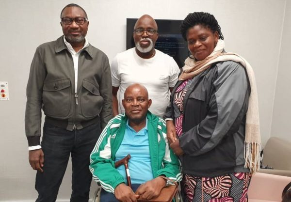 •VISIT: From left, Femi Otedola, Chukwu, Pinnick and Chukwu's wife at the Wellington hospital in