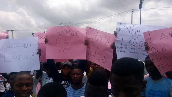 LAUTECH students protest long closure of institution