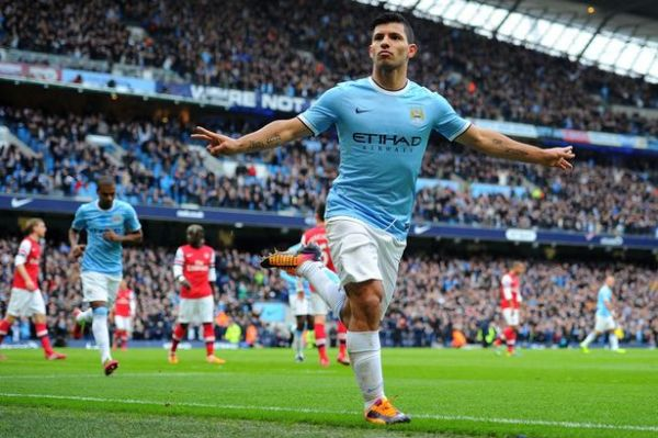 •Man City striker Sergio Aguero celebrating goal.