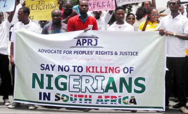 A group of Nigerians protesting against killings by the South African Police.