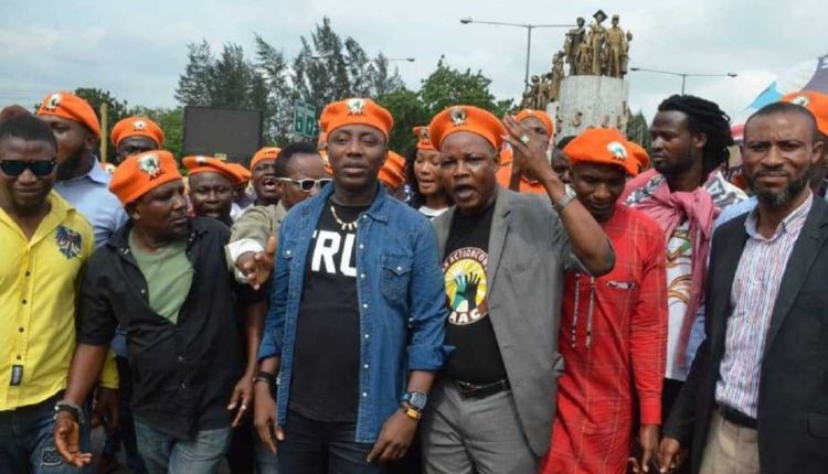 •Sowore leading a protest march before his arrest