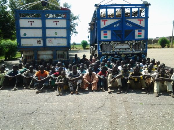 A cross section of Boko Haram fighters who earlier surrendered in Nigeria.