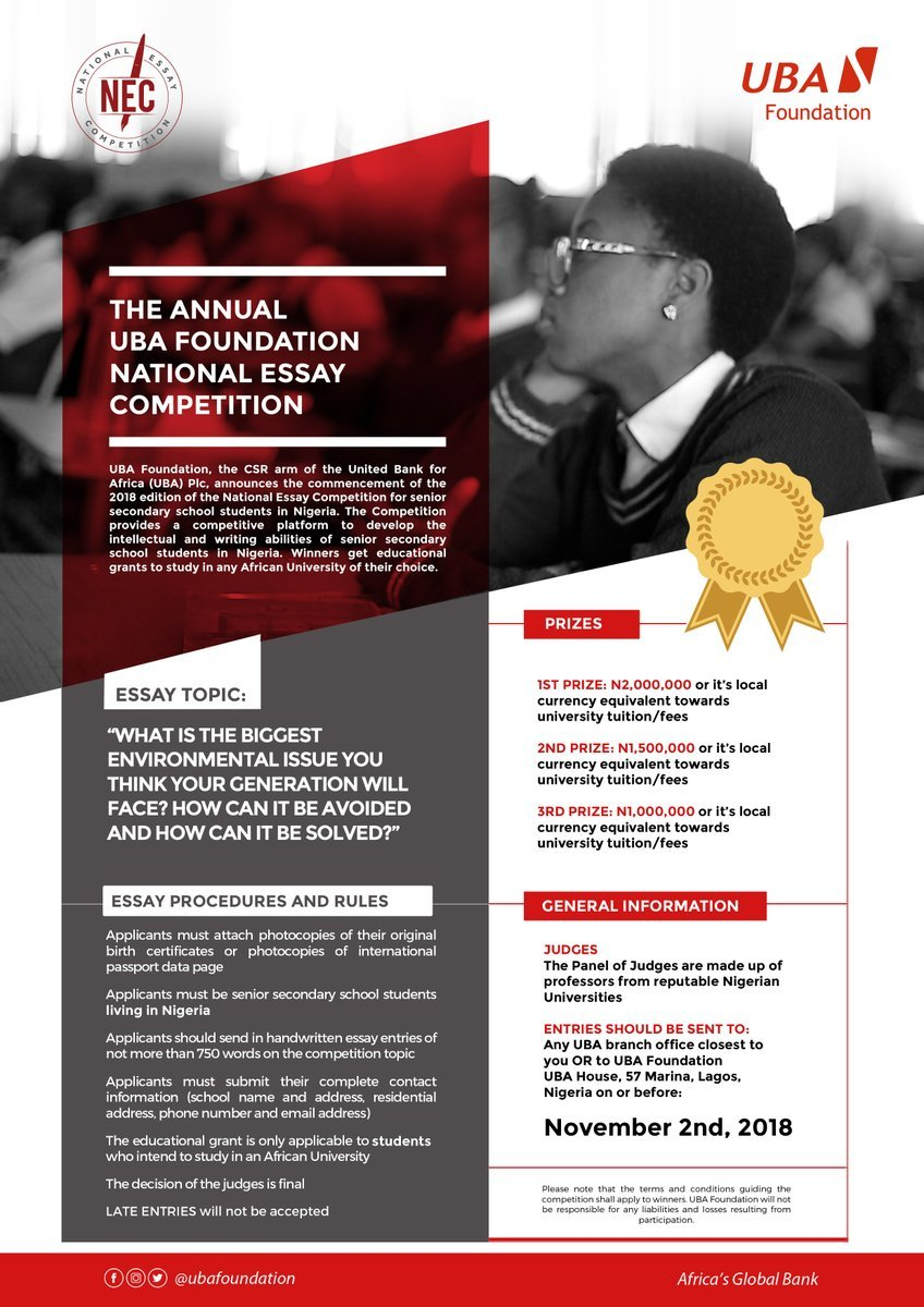 UBA  receiving entries for National Essay Competition