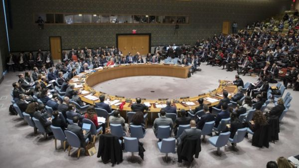 •The UN Security Council in session