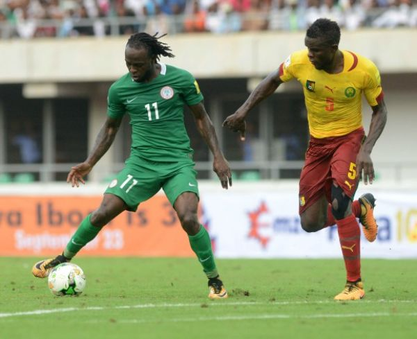 •Victor Moses on song against Cameroon . . . Monday night in Yaounde. Photo: mtnfootball.