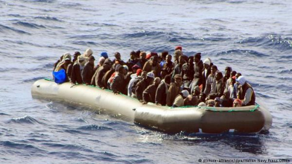 •Troubled refugee boat on the Mediterranean