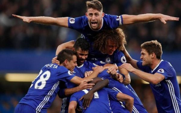 •Chelsea players celebrating a goal