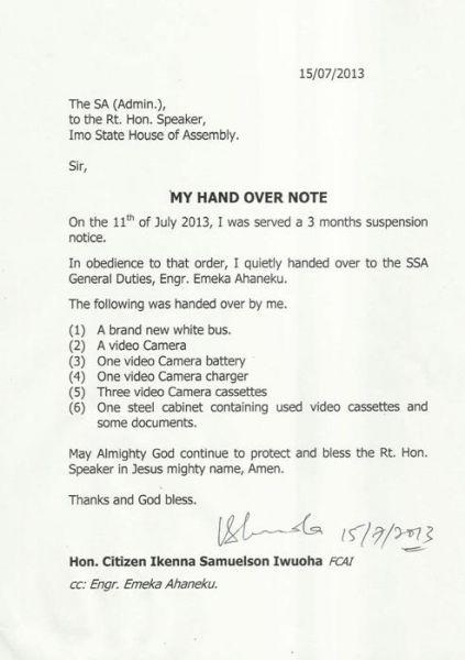 handover note